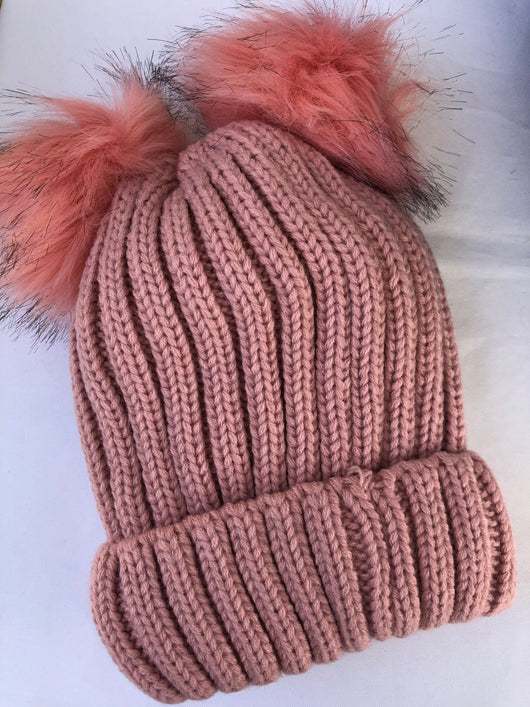 Pink Knit Beanie with Fur Lining and Double Pom Poms