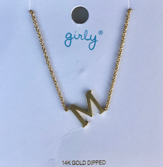 "Gold Initial ""M"" Necklace"