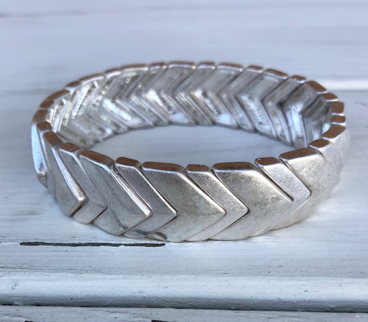 Silver Metal Chevron Stretch Bracelet