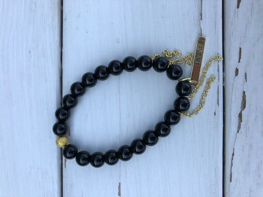 Handmade Beaded Bracelet - Black Shiny Bead w/choose joy charm