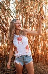 White & Red Flower High Neck Tank by Brokedown Clothing   Take your outfit to the next level with OC Social Butterfly's hand selected, specially curated stylish tops. Shop dressy, casual and work related.  Ships from the USA, unique style, fashion trends, stripes, casual style