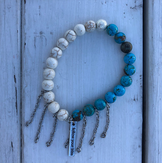 Handmade Beaded Bracelet - Cream & Turquoise Beads w/Follow Your Bliss Charm and Silver Chain