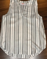 Grey & White Sleeveless Striped V-Neck Top