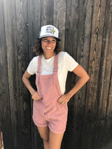 Mauve Corduroy Short Overalls with adjustable straps