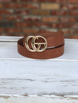 "Cognac Faux Leather ""GO"" Belt with Gold Buckle"