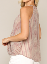 Taupe Candy Stripe Wrap Tank Top