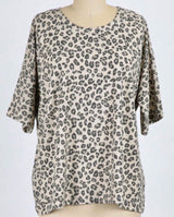 Tan Leopard Print Loungewear Short Sleeve Top
