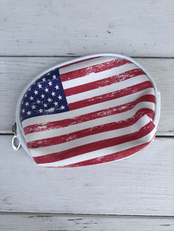 Mini Distressed American Flag Cosmetic Bag