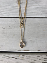 Layered Gold Oval & Horn with Rhinestones Necklace