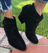 Black Suede Ankle Bootie with Braided Detail and Tassel Zip up Back Closure