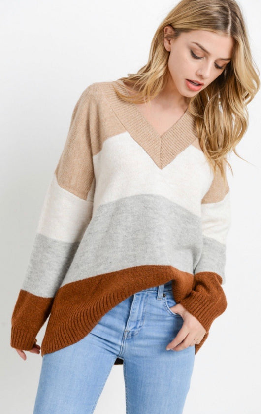 Tan, Ivory, Grey and Rust Stripe Colorblock V-Neck Sweater by Paper Crane