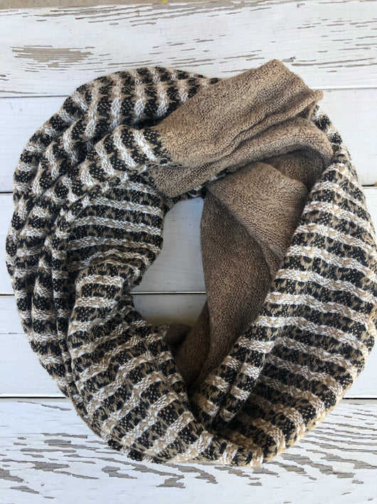 Brown and Brown/Black/Cream Stripes Infinity Scarf