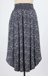 Navy Splash Print Crepe Midi Skirt W/Smocked Waistband, Round Hem & Pockets
