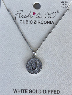 "Cubic Zirconia Bling Round Initial ""J"" Necklace"
