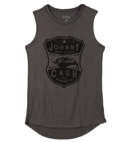 Johnny Cash Grey Women's Muscle Tank with Eagle Logo Band Tank