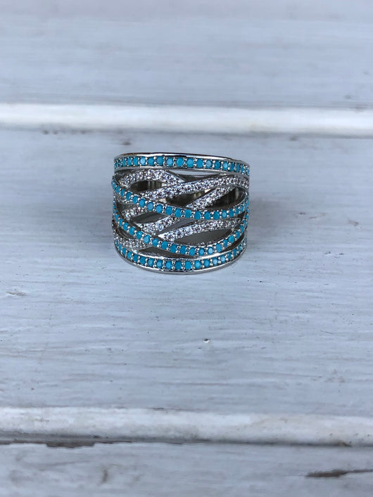 Silver & Blue Swirl Ring