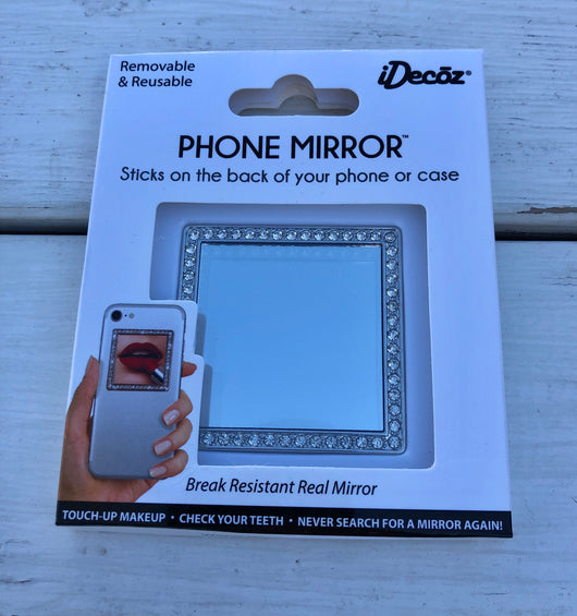 Silver Square Reusable Phone Mirror sticks on the back of your phone or case