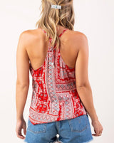 Red Boho Print Strappy Tie Back Swing Tank Top by Lovestitch