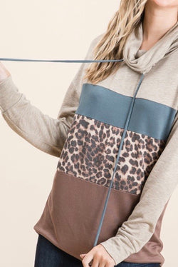 Cowl Neck Khaki Color Block With Animal Print Sweater