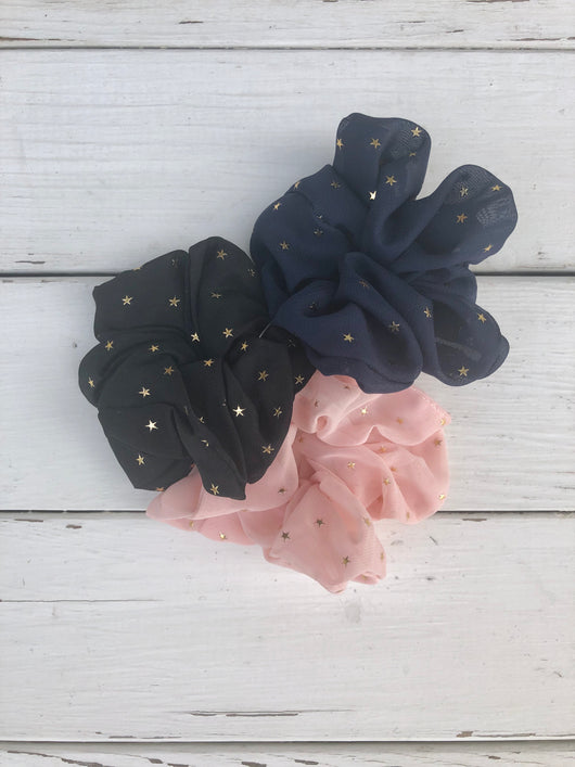 Gold Stars Set of 3 Scrunchies w/Black, Navy, and Pink