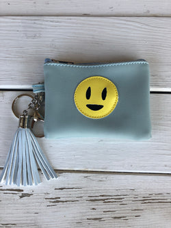 Blue Smiley Mini Pouch w/Zipper and hook  Our handbag collection is one of a kind. Looking for the perfect summer clutch, summer tote or handbag, we have what you are looking for.  Ships from the USA, coin purse, emoji bag, kids pouch, fun style