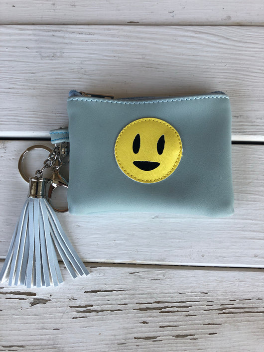 Blue Smiley Mini Pouch