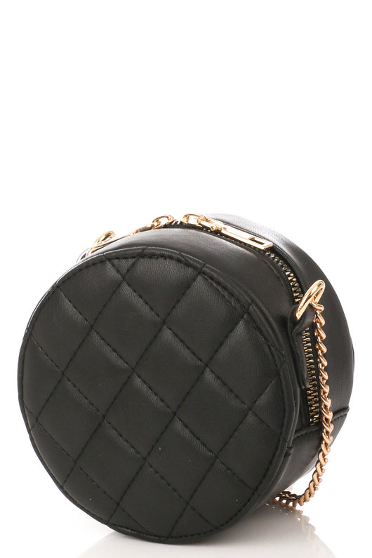 Round Cushion Stitching Crossbody Purse w/Gold Zipper & Strap