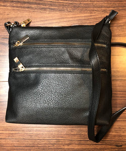 Black Crossbody Purse with Outer Pockets and Stripe Lining