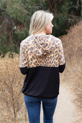 leopard print, hoodie sweater, color block with black and leopard print, Lightweight Sweater, Soft fabric and comfy fit, lovely souls, made in the USA, pullover sweatshirt, OC social butterfly boutique, sweaters, tops.