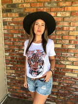 Easy Tiger White Graphic Print Round Neck Short Sleeve Side Slit Detail Top