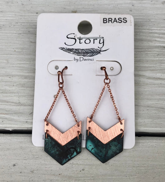 Copper & Turquoise Chevron Dangle Fishhook Earrings