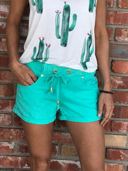 Aqua Cuffed Drawstring Cotton Shorts