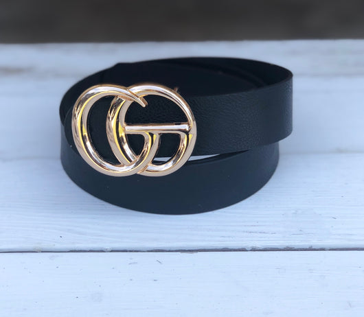 "Black Faux Leather ""GO"" Gold Buckle Belt"