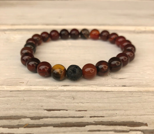 Handmade Beaded Unisex Bracelet -  Rust & Brown Mixed Glass Beads