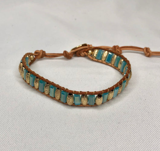 Turquoise & Gold Stones Wrapped in Brown Chord Adjustable Bracelet