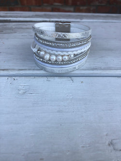 Metallic White Leather & Pearl Beads Magnetic Cuff Bracelet