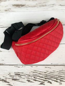 Coral Quilted Fanny Pack