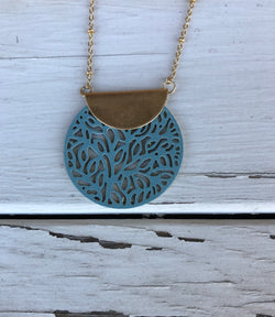 Turquoise Circle Lace Cut-out on Gold Ball Necklace