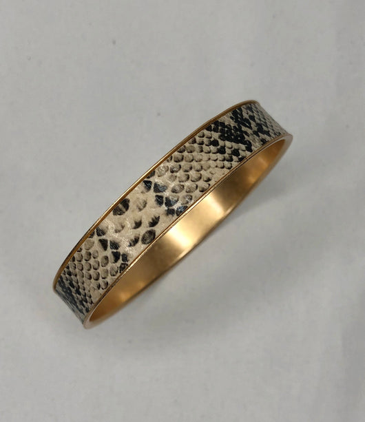 Snakeskin Print & Gold Bangle Bracelet
