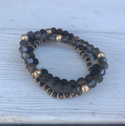 Black & Natural Semi-precious Stone w/glass Beads Stretch Set of 3 Bracelets