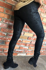 Black Soft Textured High Waist Legging with Zipper Ankle