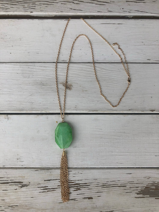 Dashing Mint Stone with Gold Tassel Long Necklace