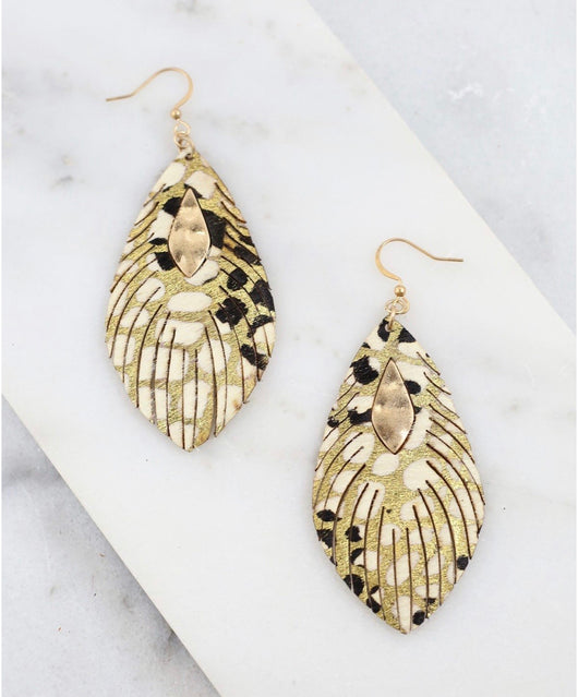 Metallic Feather Black & Gold Fish Hook Earrings