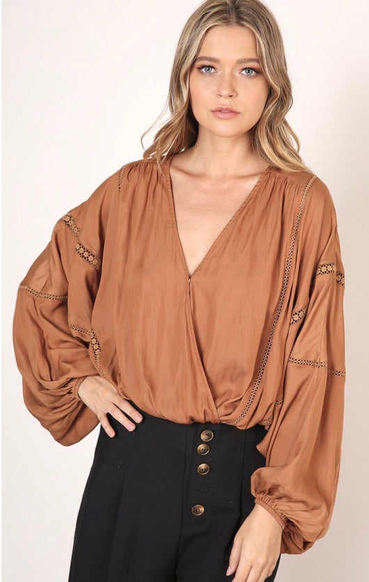 Caramel Boho Style Wrap Blouse w/Balloon Long Sleeves