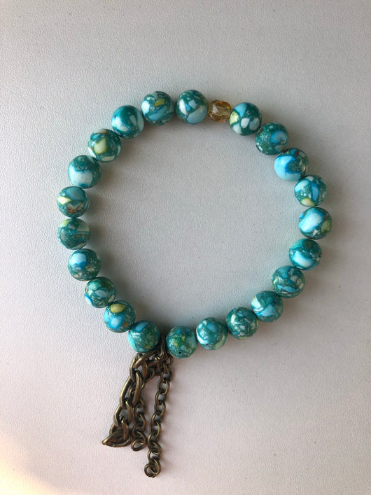 Handmade Beaded Bracelet - Marble Blue Tone Beads w/Brass Chains