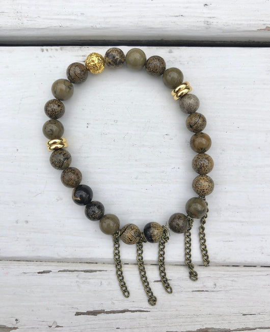 Handmade Beaded Bracelet - Antiqued Brown Beads w/Gold Spacers & Brass Chains