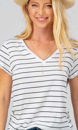 White V-Neck Short Sleeve Top with Black Stripes