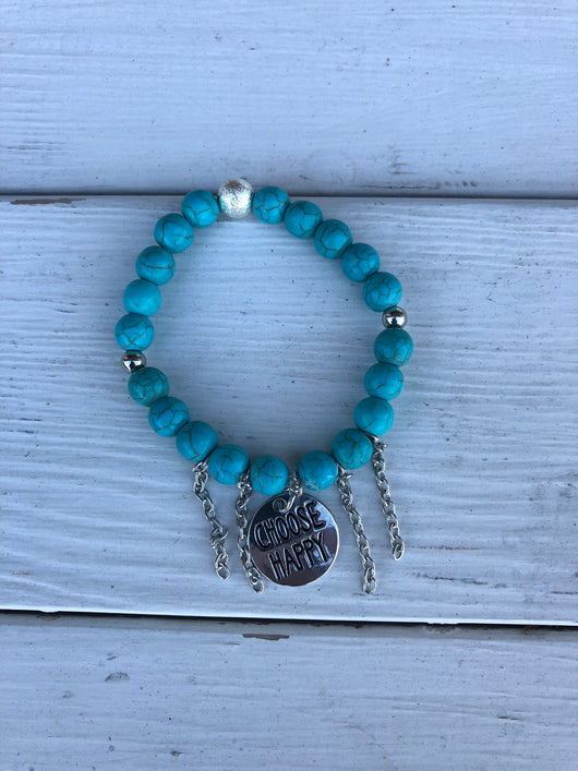 Handmade Beaded Braclet - Turquoise Beads w/Choose Happy charm