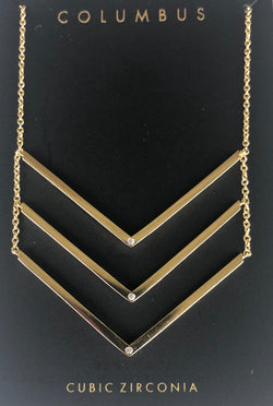 Gold Chevron Necklace with Cubic Zirconia Stones