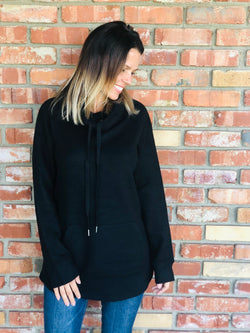 Black Pullover Hoodie Sweater with Pocket